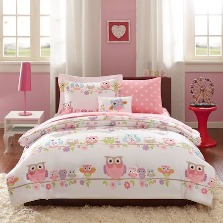 Pink Owl Bedding Twin or Full Comforter Set Bed in a Bag - Comforter, Sheets, Pillow