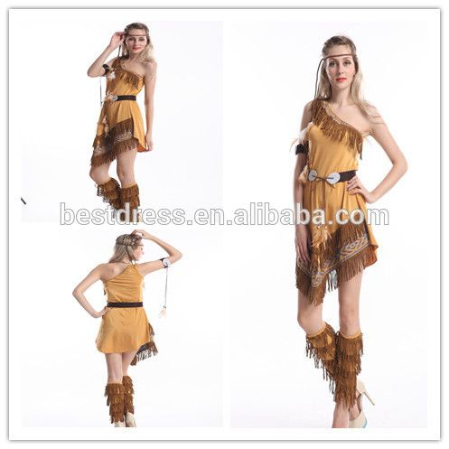 New Indian Fancy Dress Costume Ladies Pocahontas costume Sexy Native Womens Wild West Adult Halloween Costume