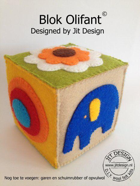 Jit Design vindt dat speelgoed voor jou en je kind een feestje moet zijn! Reken maar dat dit vilten blok in de smaak valt!  De primaire, sprekende kleuren, de eenvoud van de retro afbeeldingen, de vrolijke rijmpjes en spelletjes maken het Blok Olifant tot een superleuk en leerzaam speelgoed voor je baby, peuter en kleuter.
