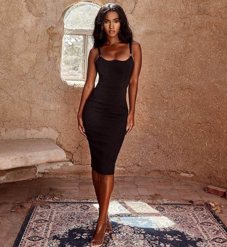 Pavlina Black Midi Bodycon Dress