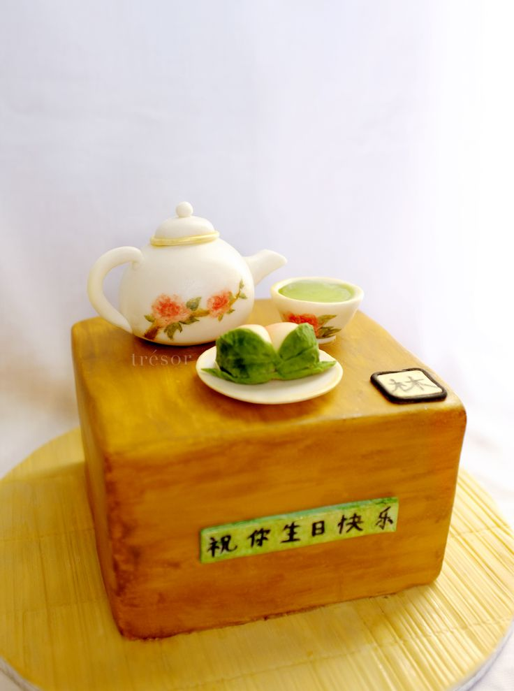 Chinese tea ceremony cake. with peach 'bun'  which means longevity.