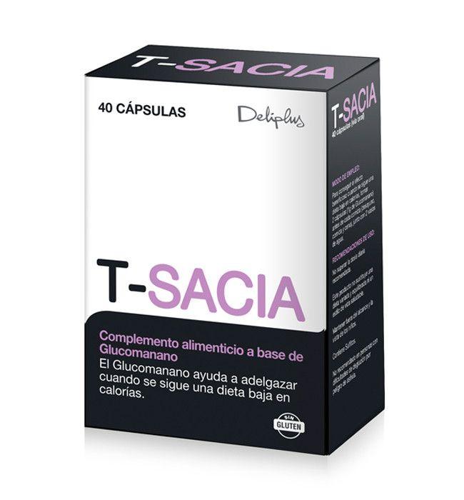 T-SACIA Complemento alimenticio a base de Glucomanano.  El Glucomanano ayuda a adelgazar cuando se sigue una dieta baja en calorías.