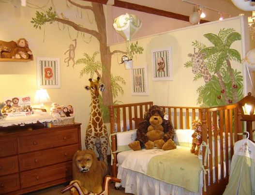 Baby boy room. Jungle theme.: Kids Rooms Design, Jungles Theme, Wall Murals, Baby Boys, Rooms Ideas, Jungles Rooms, Little Boys Rooms, Jungles Nurseries, Baby Rooms