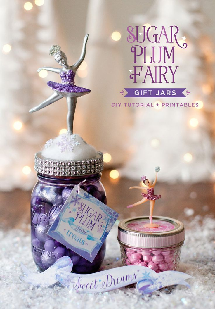 DIY Sugar Plum Fairy Gift Jars and Favor Jars! Find the full Tutorial and free printable gift tags on Hostess with the Mostess. #HolidayGifts #Ballerina #MakingandGiving