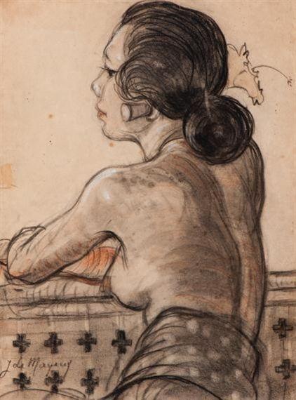 Adrien Jean Le Mayeur de Merprés - Portrait of Seated Ni Pollok