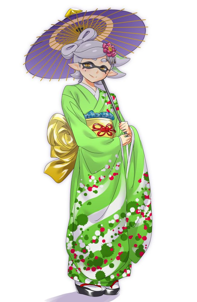1girl Aori Splatoon Blush Flower Full Body Grey Hair
