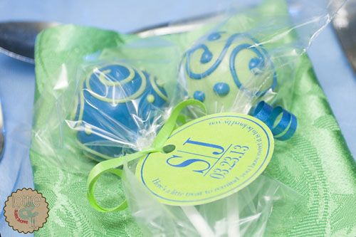 Blue and Green Cake Pop Wedding Favours