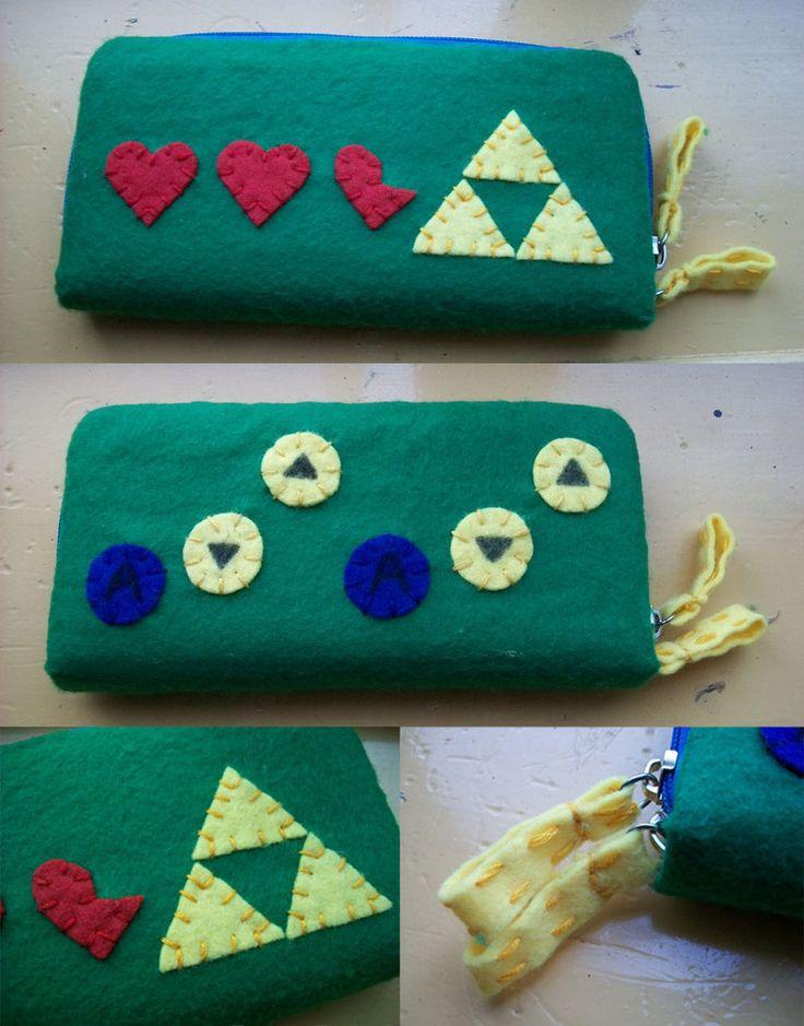 Legend of Zelda felt Wallet with Song of storms. by QueenOfThe