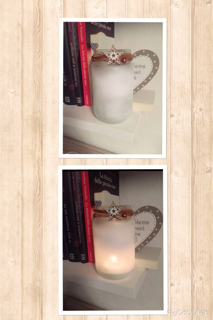 """Decorazione di un barattolo porta candele natalizio! -ho applicato su tutto il barattolo lo spray """"stucco forte adesione bianco"""" poi """"smalto spray acrilico trasparente opaco"""" -ho messo un fiocchetto come decoro"""