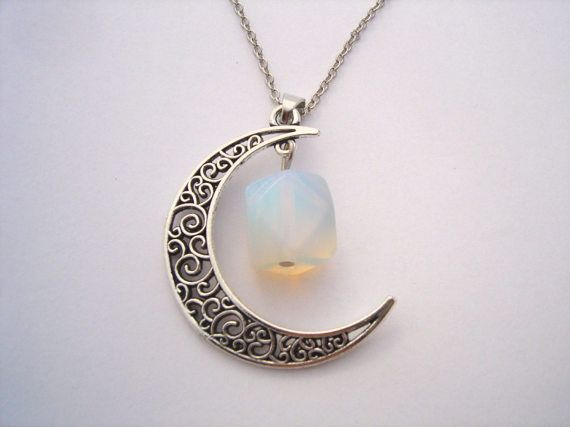 Moon Necklace Crescent Moon Opal Necklace by JewelleryByKassandra