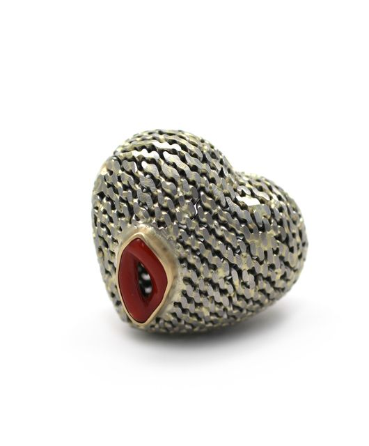 Lola Brooks  wounded heart ring, 2015 - 18kt gold, stainless steel, coral