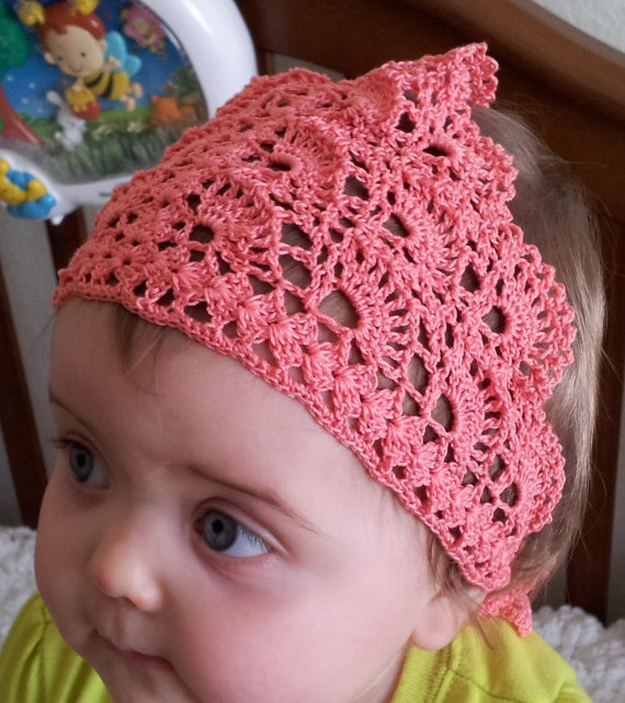 Crochet Hair Kerchief Pattern : Hand crochet head scarf kerchief Pa?uelos de cabeza, Ganchillo a ...