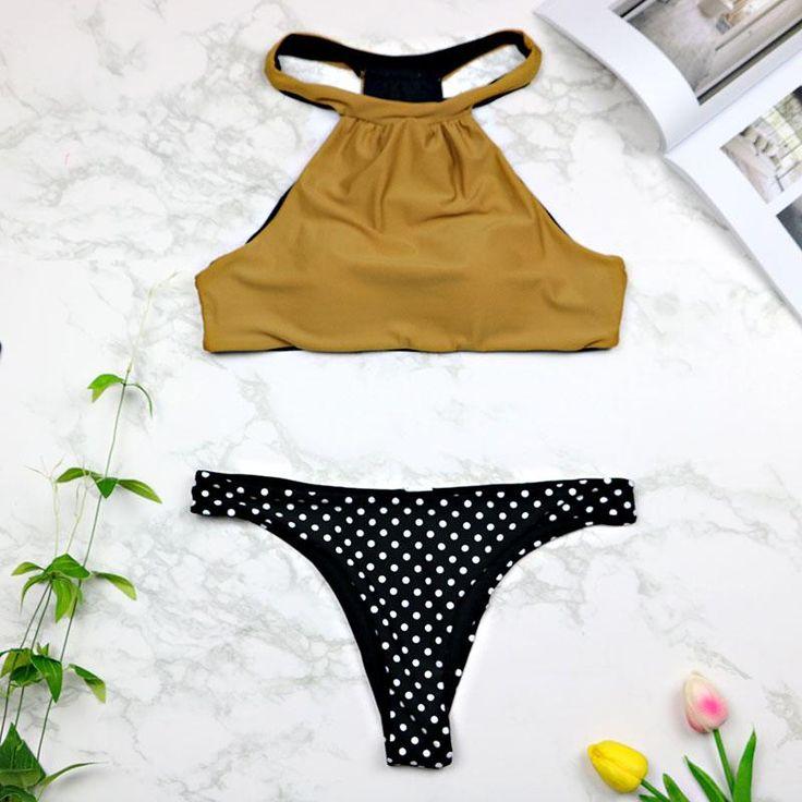 Women High Neck Bikini Set