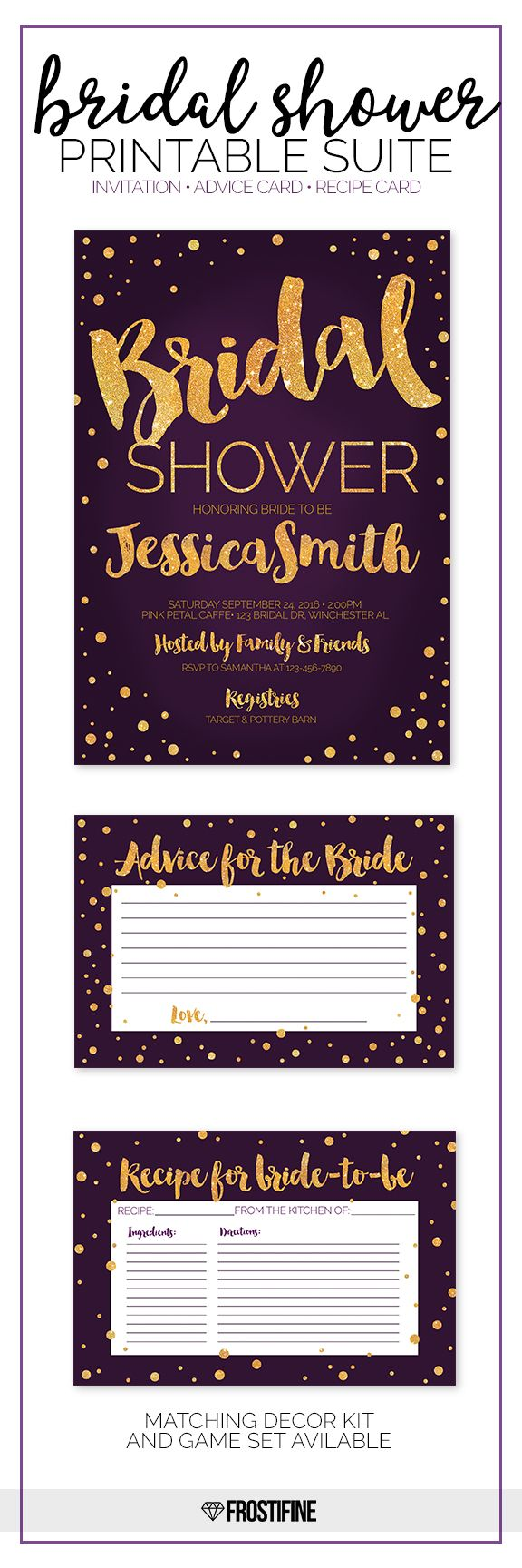 Glamorous bridal shower suite for your modern party theme. Plum purple with gold glitter details. Perfect bridal shower card to invite your guests and 2 entertainment cards - Advice for bride to be and recipe card for the most amazing party of the year to celebrate and shower the bride-to-be.