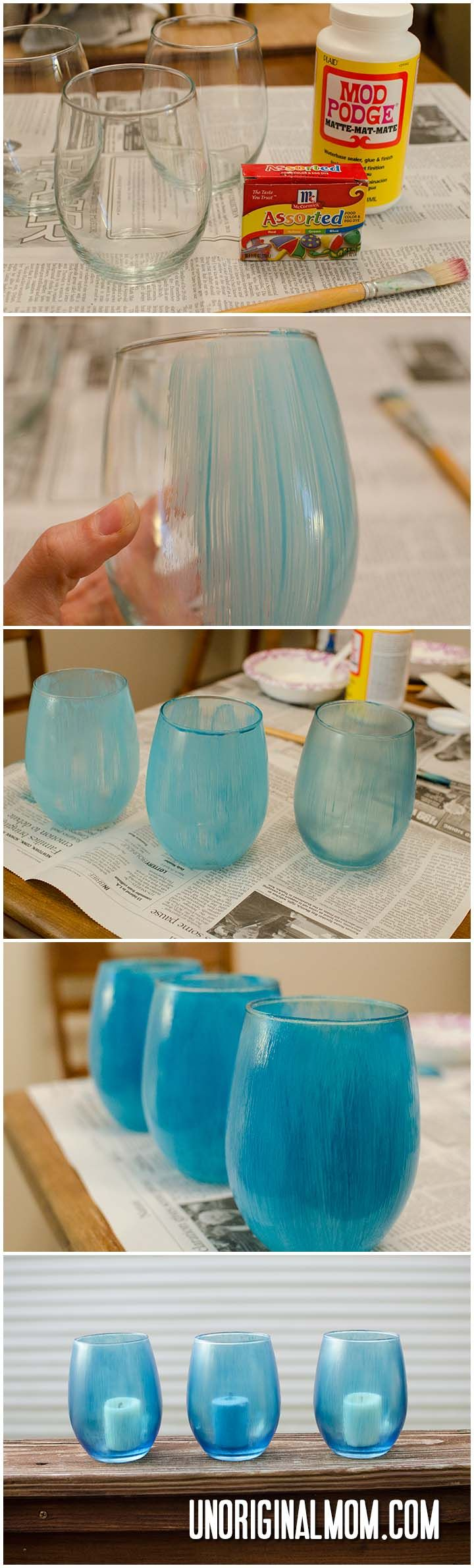 How to make painted glass using mod podge and food coloring.  So easy!  | unOriginalMom.com