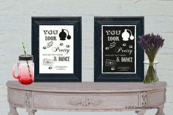 Wedding Bathroom Sign You Look Oh So Pretty  by inspiredcompany4u