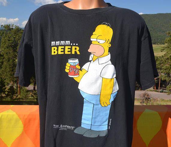 vintage 90s t-shirt HOMER SIMPSON mmmm beer simpsons cartoon