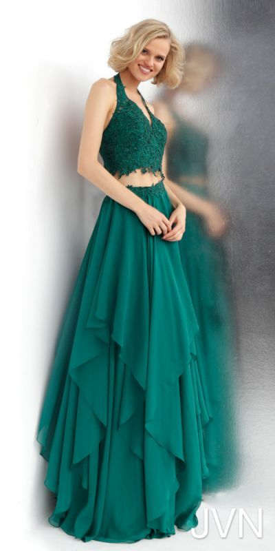 c5a2db4add0 Captivating and beautiful the Two Piece Halter Neck Layered Chiffon Prom  Dress from JVN by Jovani will have you turning heads all night long.