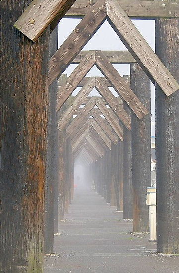 A foggy morning on the pier at the Port of Everett, Washington