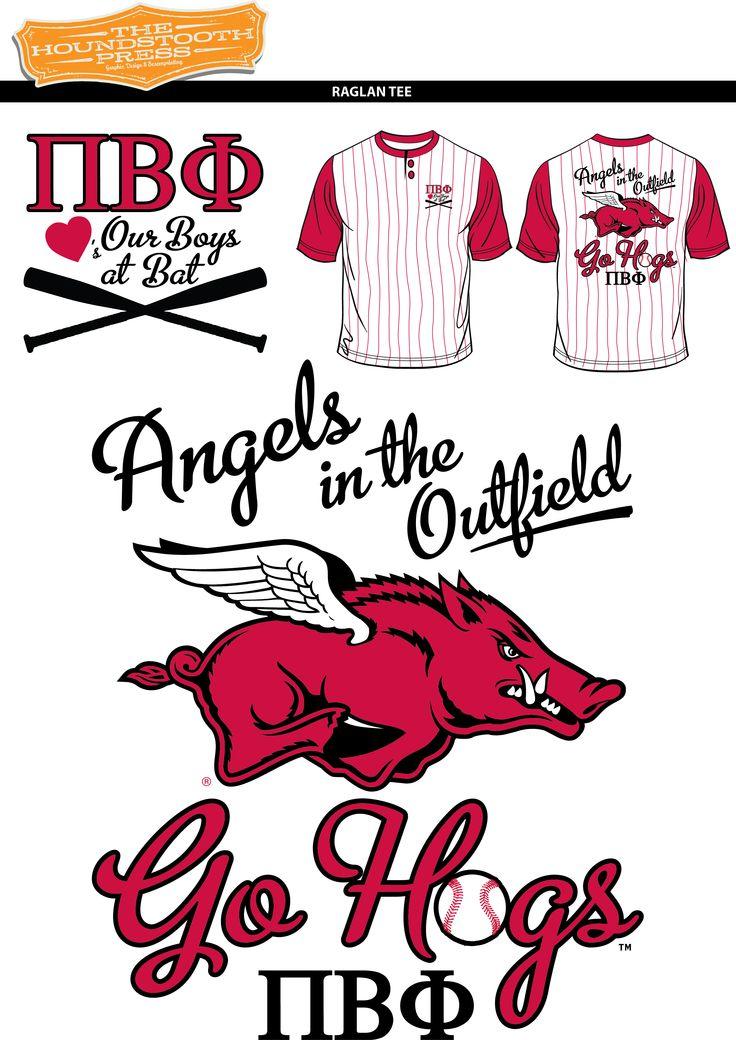 "University of Arkansas Pi Beta Phi ""Angels in the Outfield"" Baseball T-Shirt  #PiBetaPhi #PiPhi #Arkansas #Razorbacks #Baseball #ScreenPrinting #CustomShirts #CustomDesigns #SororityShirts #Greek #GreekLife #TshirtIdeas"