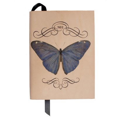 No.1 Butterfly A6 Notebook From our exciting new autumn range, we are thrilled to present you with our new Napoleon collection of notebooks. Choose from three elegant designs featuring a stunning blue butterfly from an antique encyclopedia of entomology. Printed on fabulous natural-coloured leather and finished with a black satin ribbon, these notebooks are blank and unlined and are a useful and neat A6 size. Also available in A5. £35.00