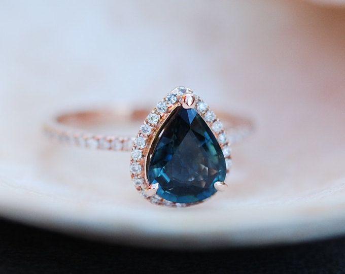 98c6e99c2 Rose Gold Engagement Ring Green Tea Sapphire pear cut halo | Etsy