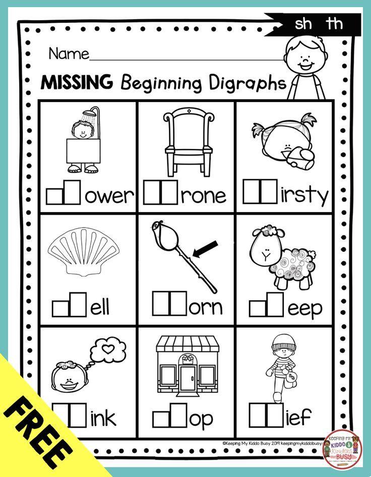 Digraphs Phonics Unit 6 Freebie Keeping My Kiddo Busy First Grade Phonics Phonics Kindergarten Kindergarten Phonics Worksheets Th digraph worksheets first grade