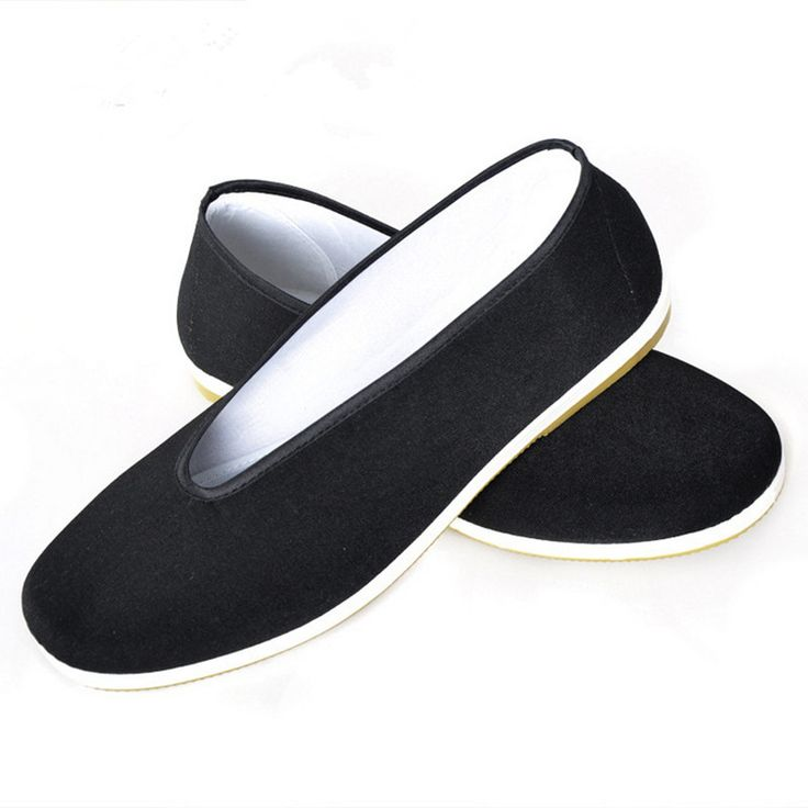High Qualtity Chinese Kung Fu Shoes Traditional Beijing Cloth Shoes Black Soft Cotton Tai Chi Shoes Comfortable Working Flats