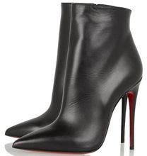 CX1175 2015 merk mode vrouwen laarzen lederen schoenen vrouwen rode onderkant hoge hakken enkellaarsjes herfst winter schoenen vrouw(China (Mainland))