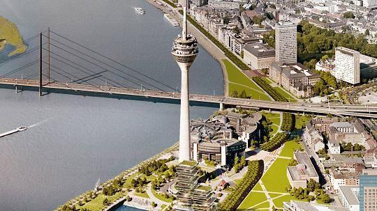 Düsseldorf: Wettstreit um Hafen-Wohnturm - Im Januar werden die 4 Favoriten vorgestellt Foto: Ingenhoven Architects http://www.rp-online.de/nrw/staedte/duesseldorf/wettstreit-um-hafen-wohnturm-aid-1.6490340