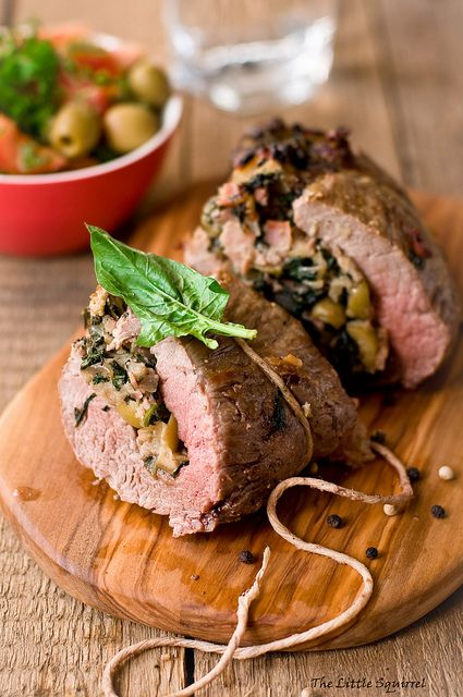 Wonderfully stick-to-your-ribs filling on a cool autumn night: Green Olive and Spinach Stuffed Beef Fillet. #olive #spinach #beef #food #dinner #meat #cooking