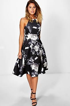 Eleanor Floral Strappy Midi Skater Dress
