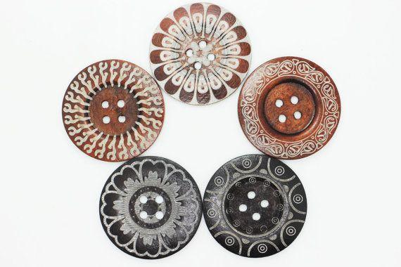 Set of 5 Extra Large Ethnic Pattern Wooden by boysenberryaccessory