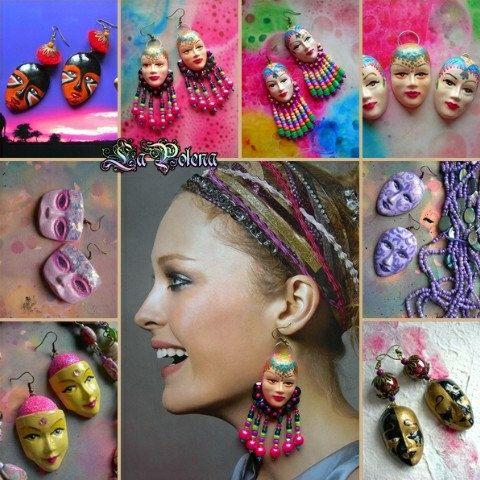 Paintable plaster masks. Venetian mask earrings by La Polena