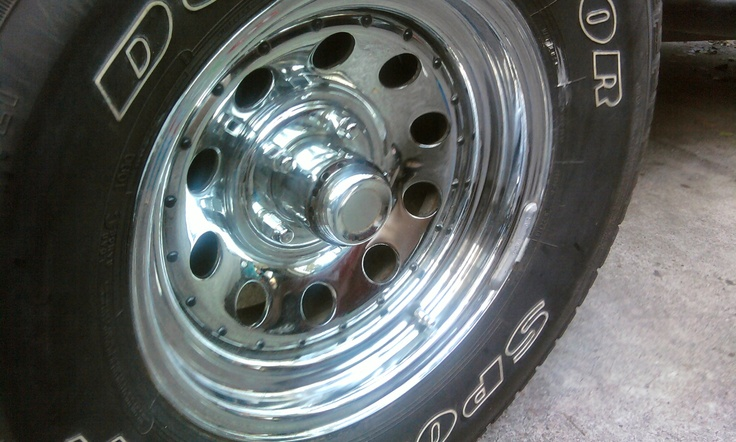 The rims/tires on our Jeep. Nice and shiny. Quick tip If