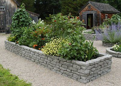 stone brick raised beds