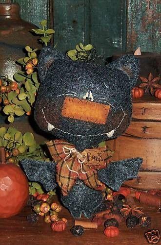 Patti's Ratties Primitive Black Bat Halloween by pattisratties, $10.95