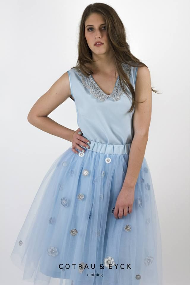 Tulle skirt and blouse.
