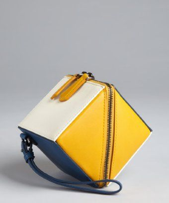 Fendi : yellow and blue leather colorblock cube wristlet