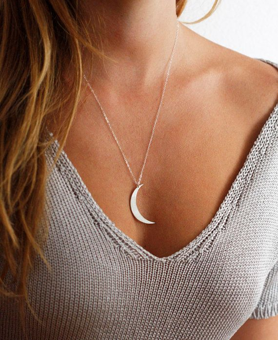 Moon Necklace Silver Crescent Necklace Sterling by MinimalVS, $111.00