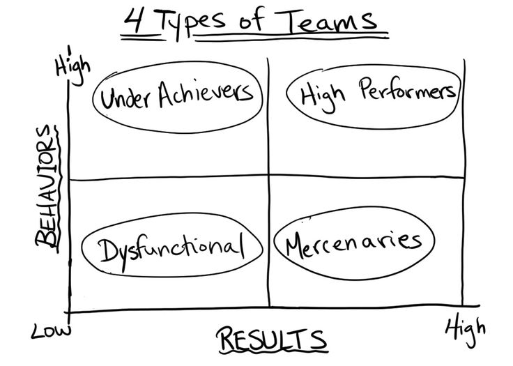 4 types of teams based on behavior/results
