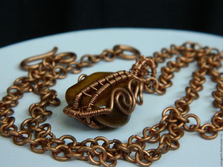 """Купить Мини кулон с ТИГРОВЫМ ГЛАЗОМ из коллекции """"Самоцветная радуга"""" - коричневый, коричневый камень"""