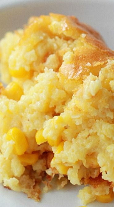 Sweet Corn Spoonbread - Southern Bite _ A favorite at our house. It's another one of those dump, stir, and pour recipes that we all love, but it tastes like so much more!  Truly a foodgasim recipe. Trough bathing status.
