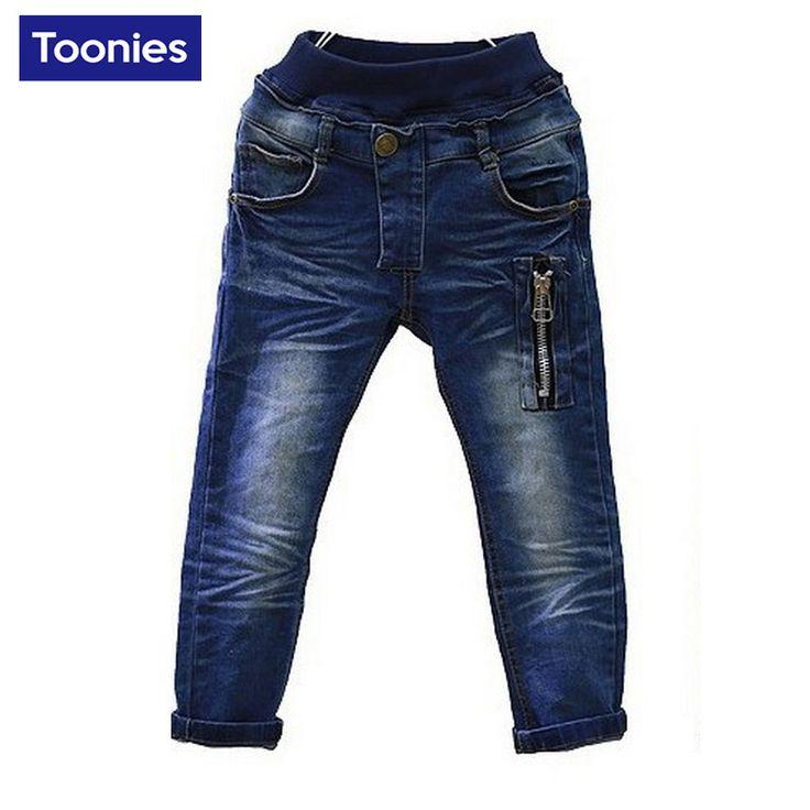 Los bebés Jeans de Moda Primavera Otoño Ocasional Delgada Luz Azul Cintura Elástica Pantalones Rectos