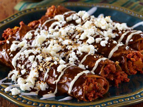 "Enmoladas-""Mole Enchiladas"" - This looks so good, but I don't know when I'd ever make it."