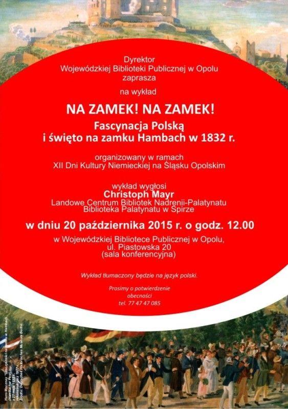 """""""Na zamek!  Na zamek! Fascynacja Polską i święto na zamku Hambach w 1832 r."""". """"Hinauf, hinauf zum Schloss! Polenbegeisterung und Hambacher Fest 1832"""" hambach_d.jpg (Obrazek JPEG, 563×800pikseli)"""