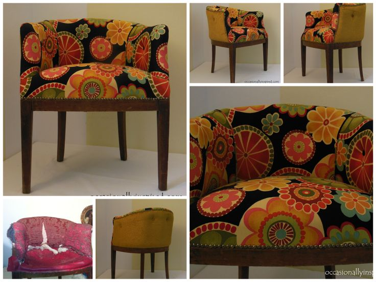 Psychedelic fabric for the front of this tub chair and gold chenille jacquard for the back. Four buttons and nailhead trim all around.