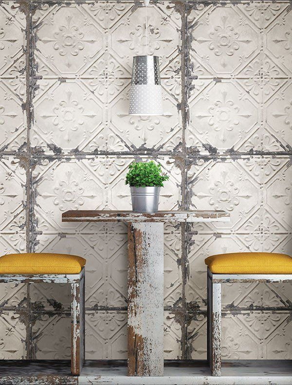 This tin ceiling tile wallpaper will add an antique charm to any room. The peel and stick material is perfect for DIY projects, apartment decor and anybody look