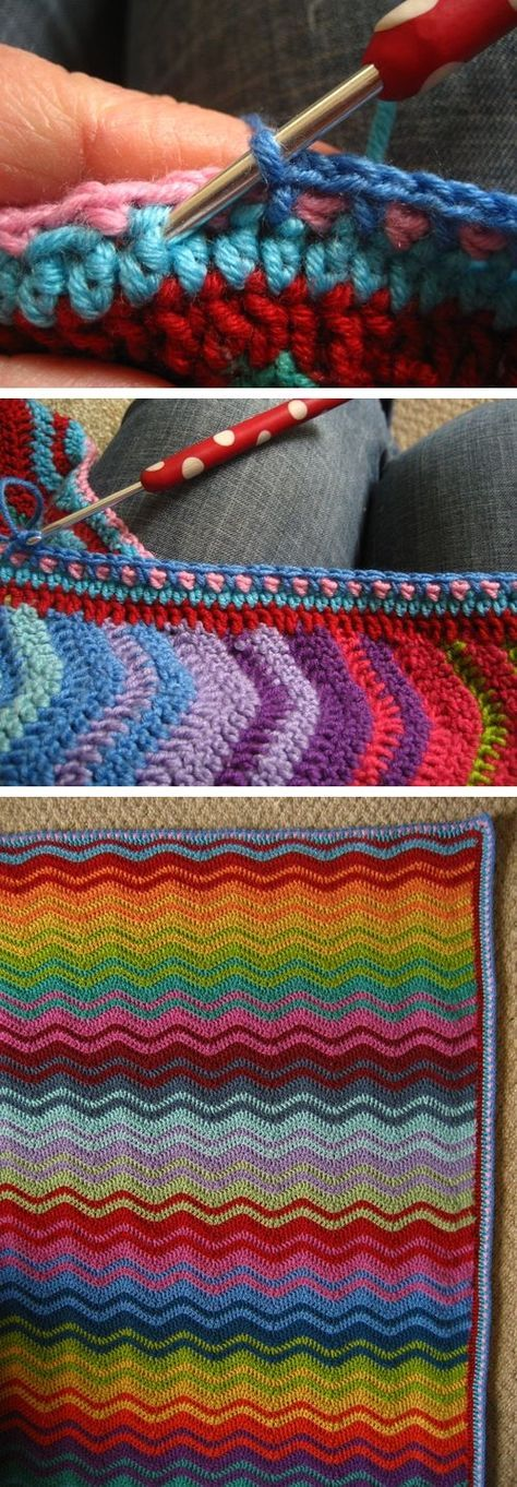 Lucy's Interlocking Colors ripple ~ As always, she gives instructions with plenty of photos in sharing this *free* pattern. ❥Teresa Restegui http://www.pinterest.com/teretegui/❥
