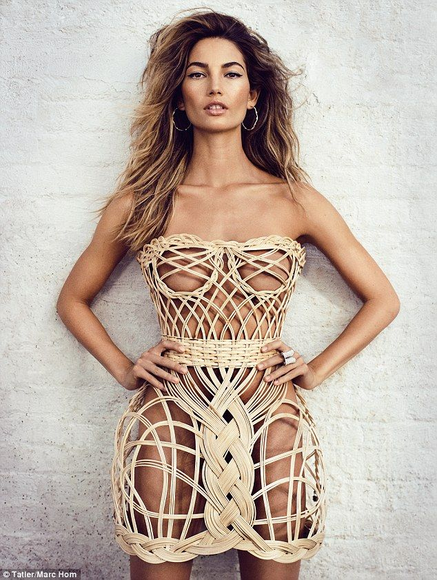 Smouldering: Lily Aldridge showed off her envy-inducing figure in just a wicker basket dress as she posed up a storm in an edgy shoot for the May edition of Tatler magazine